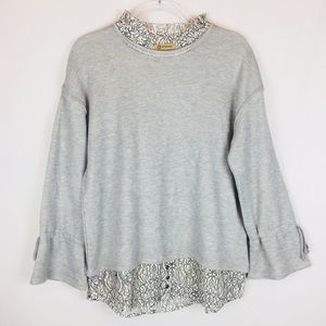Democracy | Lace Detailed Bell Sleeve Sweatshirt